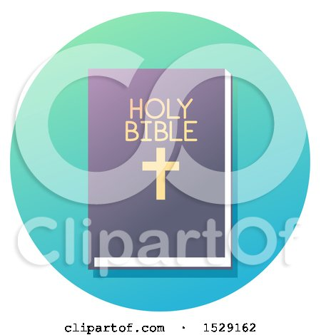 Clipart of a Holy Bible Christian Icon on a Gradient Circle - Royalty Free Vector Illustration by BNP Design Studio