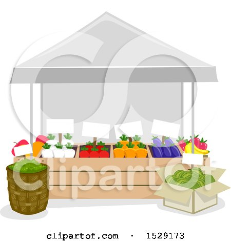 Clipart of a Farmers Market Produce Vendor Stand - Royalty Free Vector Illustration by BNP Design Studio