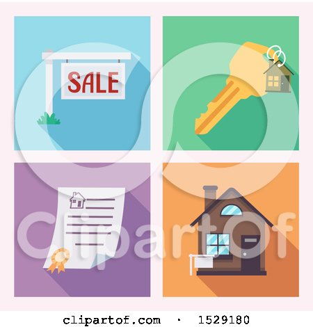 Clipart of Real Estate Icons of a for Sale Sign, Key, Deed and House - Royalty Free Vector Illustration by BNP Design Studio