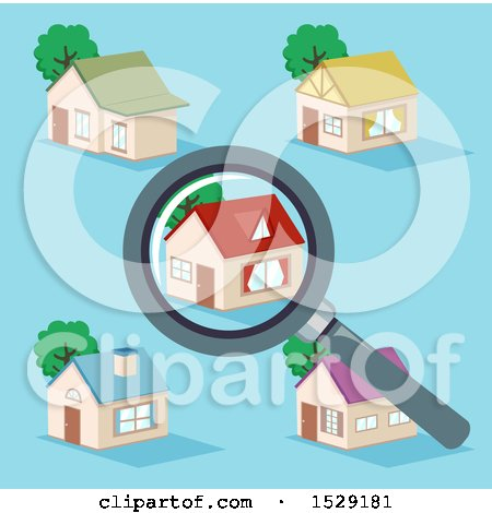Clipart of a Magnifying Glass over a House in a Neighborhood, on Blue - Royalty Free Vector Illustration by BNP Design Studio