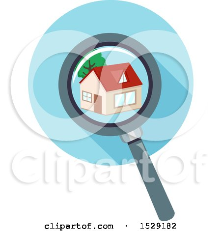 Clipart of a Magnifying Glass over a Home - Royalty Free Vector Illustration by BNP Design Studio