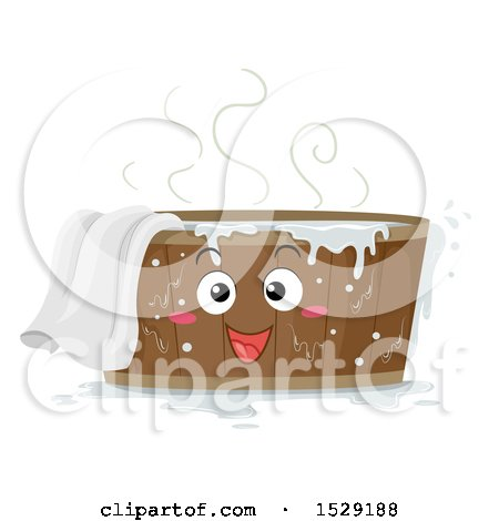 Clipart of a Wooden Tub Character with Hot Water and a Towel - Royalty Free Vector Illustration by BNP Design Studio