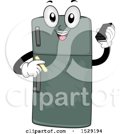 Clipart of a Chalkboard Refrigerator Character Holding an Eraser and Chalk - Royalty Free Vector Illustration by BNP Design Studio