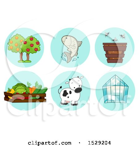 Clipart of Fruit Tree, Fish, Bee, Harvest, Cow and Greenhouse Agriculture Icons - Royalty Free Vector Illustration by BNP Design Studio
