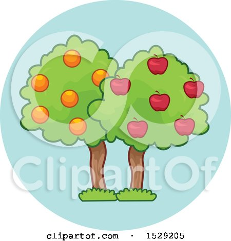 Clipart of a Fruit Tree Agriculture Icon - Royalty Free Vector Illustration by BNP Design Studio