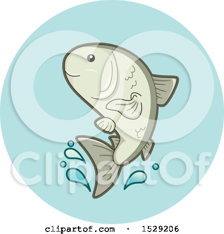 Clipart of a Farmed Fish Aquaculture Agriculture Icon - Royalty Free Vector Illustration by BNP Design Studio