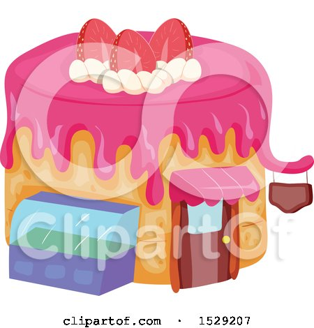 Clipart of a Caked Shaped Bakery or Cafe - Royalty Free Vector Illustration by BNP Design Studio