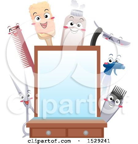 Clipart of a Barber Shop Mirror with Happy Utensil Characters - Royalty Free Vector Illustration by BNP Design Studio