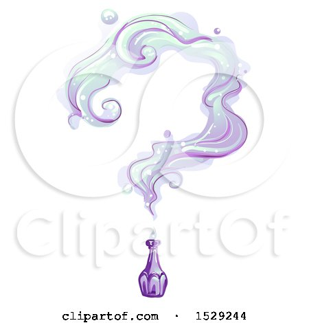 Clipart of a Vintage Purple Bottle with Smoke Forming a Question Mark - Royalty Free Vector Illustration by BNP Design Studio