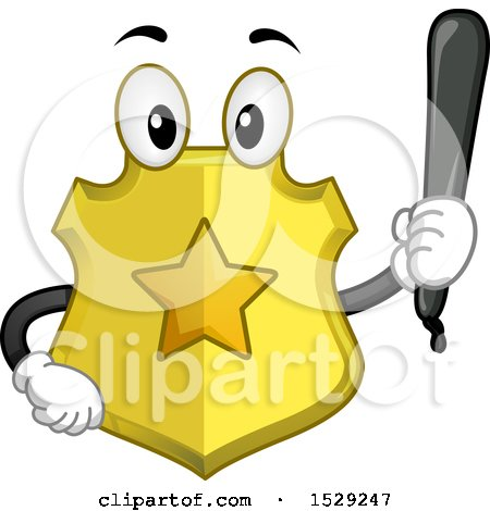 Clipart of a Police Badge Character Holding a Baton - Royalty Free Vector Illustration by BNP Design Studio