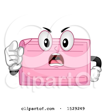 Clipart of a Mad Pink Slip Character Pointing Outwards - Royalty Free Vector Illustration by BNP Design Studio