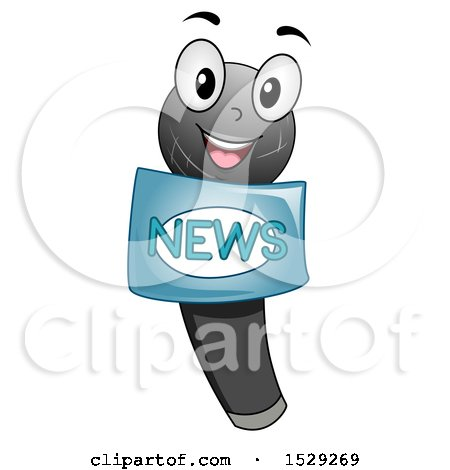 Clipart of a Microphone Character with a News Label - Royalty Free Vector Illustration by BNP Design Studio