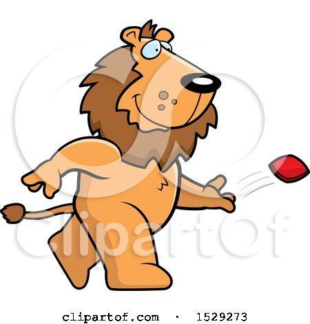 Clipart of a Male Lion Playing Cornhole Bean Bag Toss - Royalty Free Vector Illustration by Cory Thoman