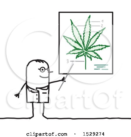Clipart of a Stick Man Doctor Discussing the Medical Benefits of Cannabis - Royalty Free Vector Illustration by NL shop