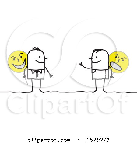 Clipart of a Stick Business Man and Guy Holding Evil Signs - Royalty Free Vector Illustration by NL shop