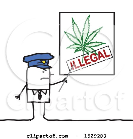 Clipart of a Stick Man Police Office Discussing Illegal Use of Marijuana - Royalty Free Vector Illustration by NL shop