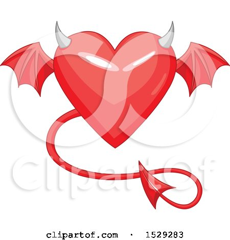 Clipart of a Red Heart with a Devil Tail, Horns and Wings - Royalty Free Vector Illustration by Pushkin