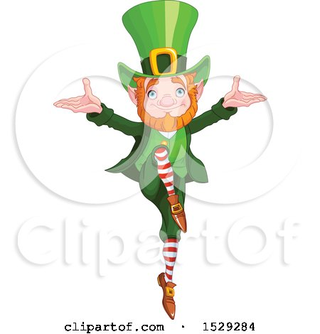 Clipart of a St Patricks Day Leprechaun Dancing - Royalty Free Vector Illustration by Pushkin