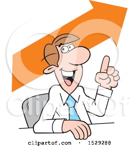 Clipart of a Cartoon Business Man Making a Point, Upward Trend - Royalty Free Vector Illustration by Johnny Sajem