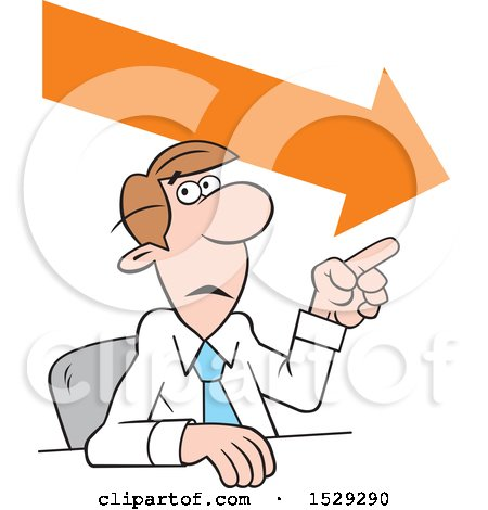 Clipart of a Cartoon Business Man Making a Point, Downward Trend - Royalty Free Vector Illustration by Johnny Sajem