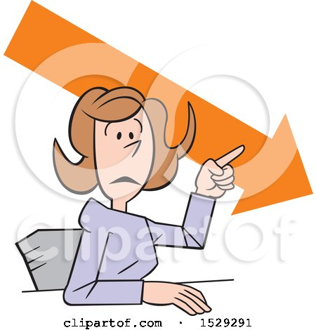 Clipart of a Cartoon Business Woman Making a Point, Downward Trend - Royalty Free Vector Illustration by Johnny Sajem