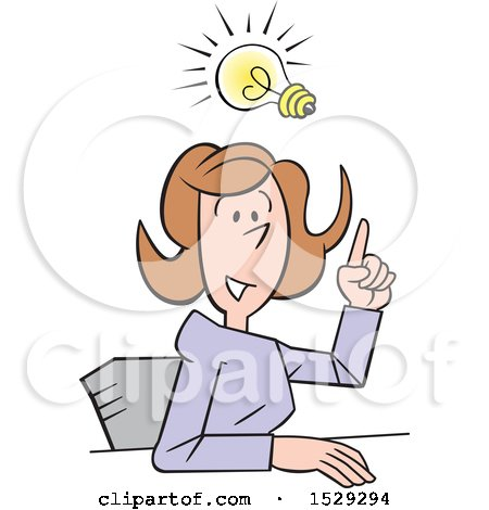 Clipart of a Cartoon Business Woman Making a Point with an Idea - Royalty Free Vector Illustration by Johnny Sajem