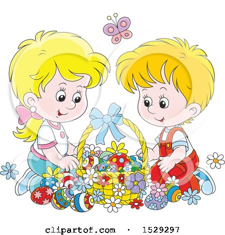 Clipart of a Happy Caucasian Boy and Girl with an Easter Basket - Royalty Free Vector Illustration by Alex Bannykh