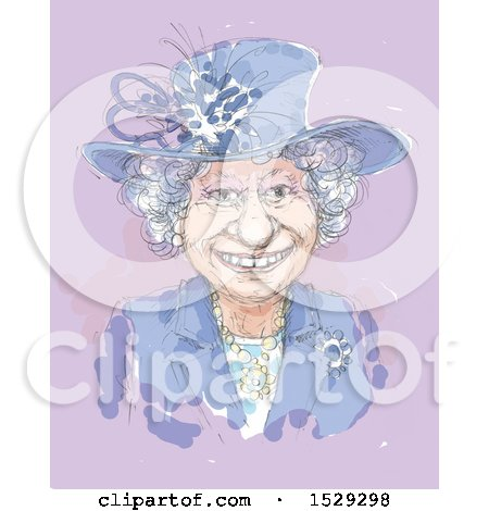 Clipart of a Painted Happy Senior Woman on Purple - Royalty Free Illustration by Alex Bannykh