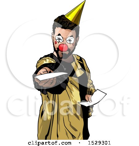 Clipart of a Clown Holding out a Sheet of Paper - Royalty Free Vector Illustration by dero