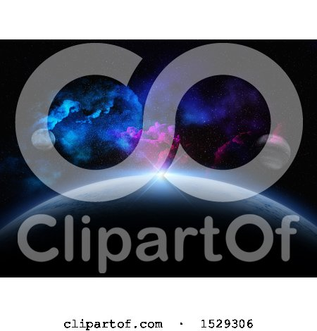 Clipart of a 3d Abstract Fictional Planet Astronomy Background - Royalty Free Illustration by KJ Pargeter