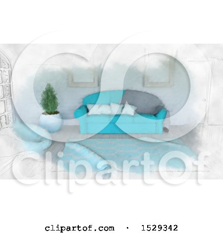 Clipart of a Sketched Blue Toned Modern Lobby Interior - Royalty Free Illustration by KJ Pargeter