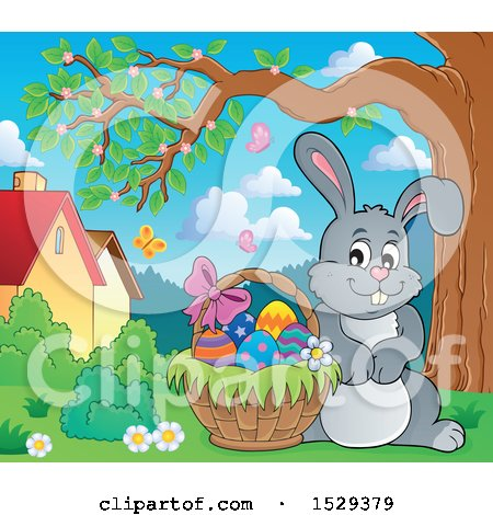 Clipart of a Gray Bunny Rabbit with an Easter Basket - Royalty Free Vector Illustration by visekart