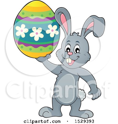 Clipart of a Gray Bunny Rabbit Holding an Easter Egg - Royalty Free Vector Illustration by visekart