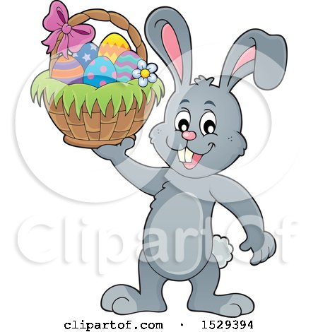 Clipart of a Gray Bunny Rabbit Holding an Easter Basket - Royalty Free Vector Illustration by visekart
