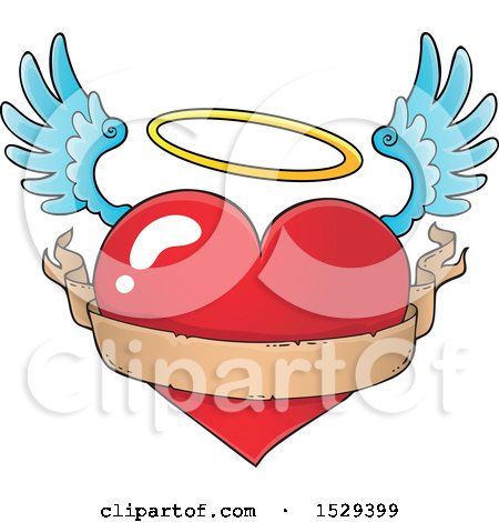 Clipart of a Flying Angel Heart with a Blank Ribbon Banner - Royalty Free Vector Illustration by visekart