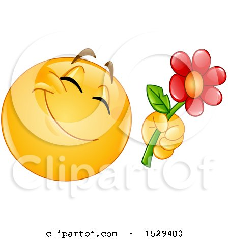 Clipart of a Romantic Yellow Emoji Smiley Giving a Flower - Royalty Free Vector Illustration by yayayoyo