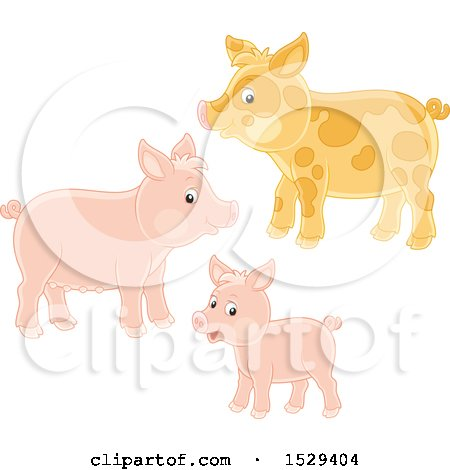 Clipart of a Pig Family - Royalty Free Vector Illustration by Alex Bannykh