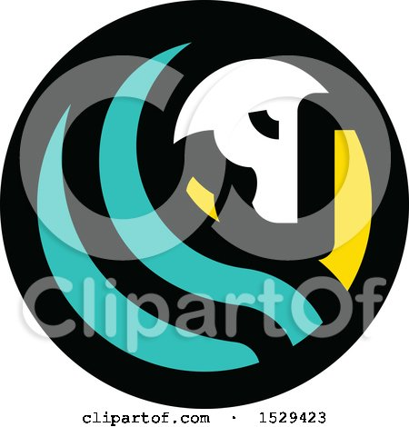 Clipart of a Round Horse and Turquoise Hair Circle Design - Royalty Free Vector Illustration by elena