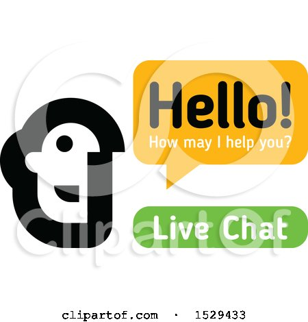 Clipart of a Live Chat Customer Representative Talking - Royalty Free Vector Illustration by elena