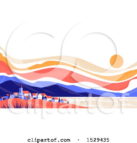 Clipart of a Sunset over a Mountain and City Lansdcape - Royalty Free Vector Illustration by elena