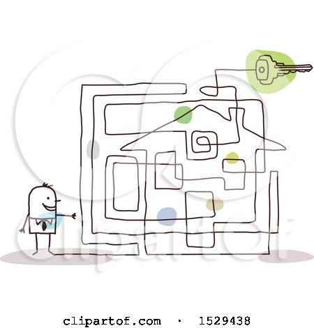Clipart of a Stick Business Man with a House Labyrinth Maze - Royalty Free Vector Illustration by NL shop