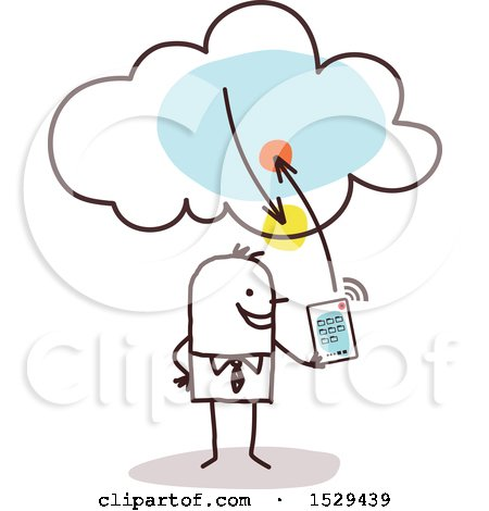 Clipart of a Stick Business Man Connecting His Tablet to the Cloud - Royalty Free Vector Illustration by NL shop