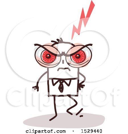 Clipart of a Mad Stick Business Man with Huge Red Eyes - Royalty Free Vector Illustration by NL shop