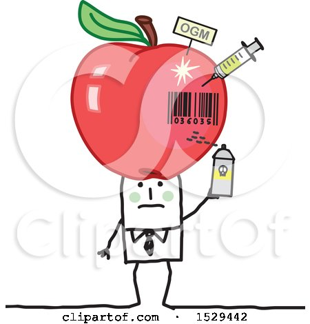 Clipart of a Stick Business Man with a Giant Poisoned Apple on His Head - Royalty Free Vector Illustration by NL shop