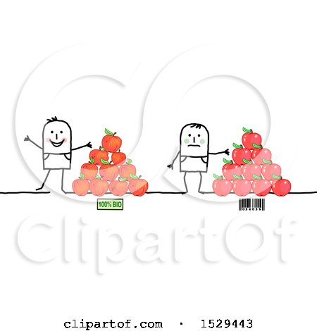 Clipart of Stick Men with Gmo and Organic Apples - Royalty Free Vector Illustration by NL shop