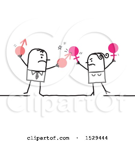 Clipart of a Stick Business Man and Woman Having a Battle of the Sexes - Royalty Free Vector Illustration by NL shop