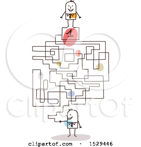 Clipart of a Stick Business Man with a First Place Labyrinth Maze - Royalty Free Vector Illustration by NL shop