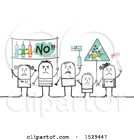 Clipart of a Group of Stick People Protesting Vaccines - Royalty Free Vector Illustration by NL shop