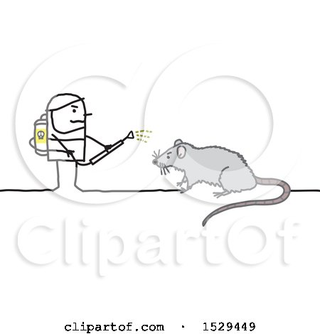 Clipart of a Stick Man Exterminator Battling a Rat - Royalty Free Vector Illustration by NL shop