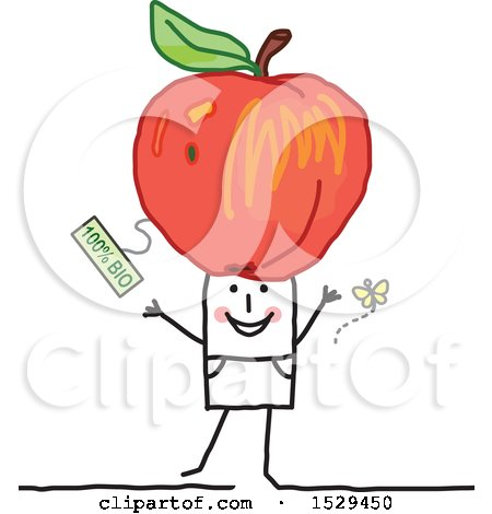 Clipart of a Stick Man with an Organic Apple on His Head - Royalty Free Vector Illustration by NL shop